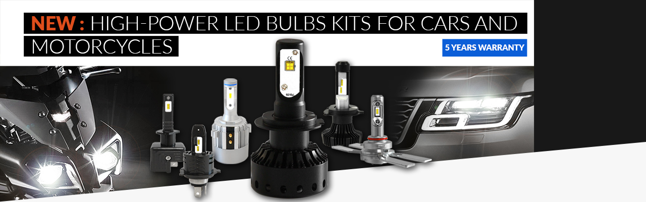 NEW: high-power LED bulb kits for cars and motorcycles