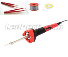 WELLER 15W soldering iron (used to solder instrument panel SMD LEDs) + tin solder + SMD LED tweezers